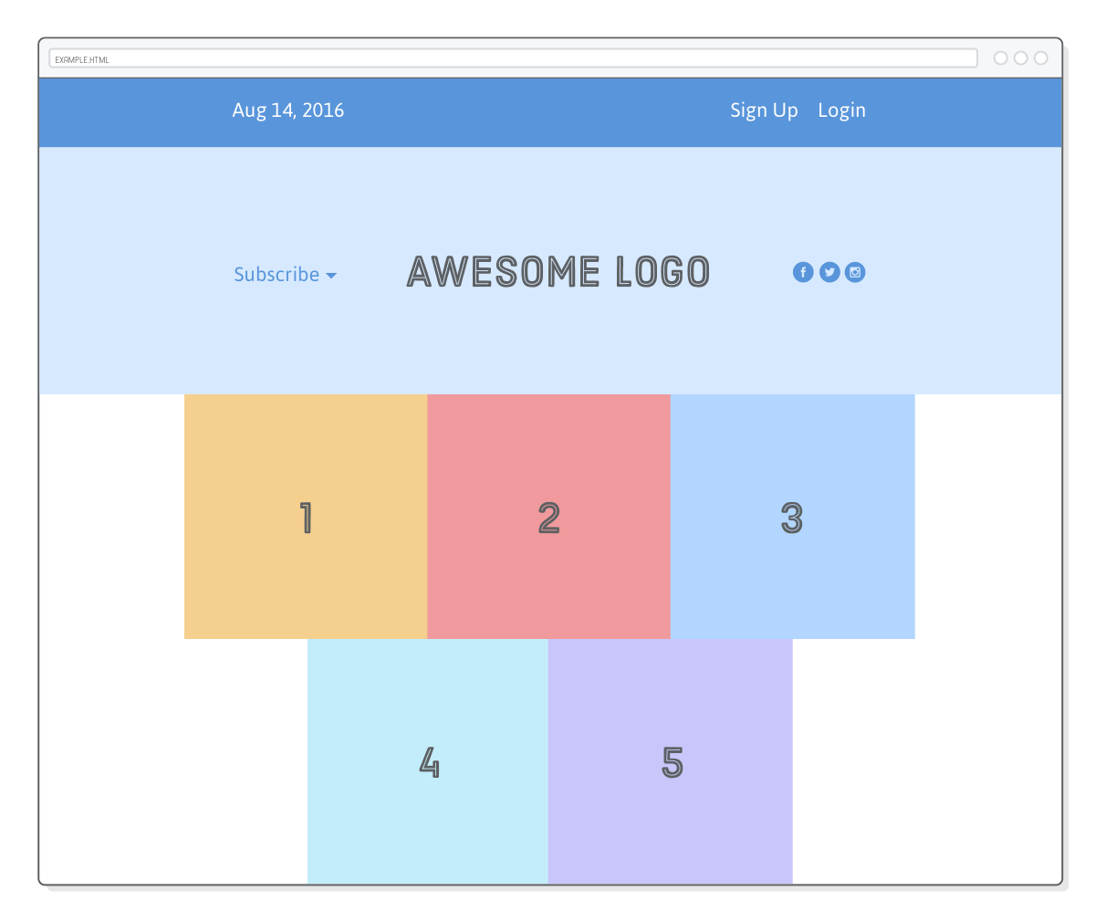 Web page showing grid created from correct flexbox wrapping