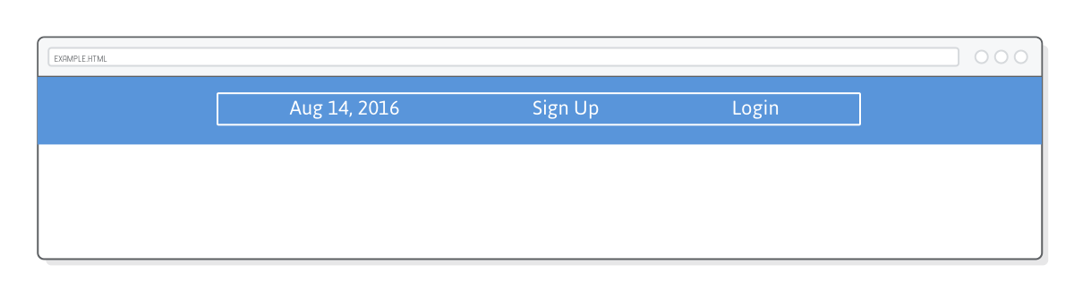 Web page showing menu bar <li> elements laid out with space-between